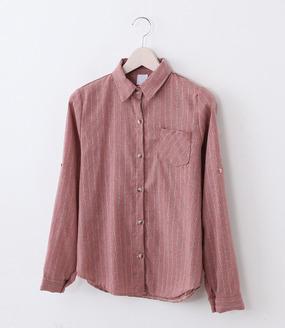 핑크줄기본 블라우스